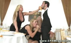 CFNM babes sucking their waiter and cant get enough