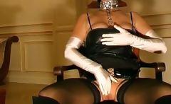 Dark latex masked big boobed horny babe