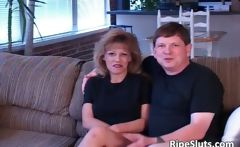 Horny dude fucks blonde MILF with huge