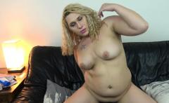 Curvy blonde amateur ts babe rides dildo