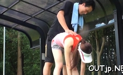 Tasty asian slut with great tits flirts and gets licked