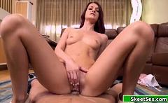 Redhead slut riding hard cock for money