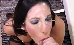 Busty brunette pov blowjob facial