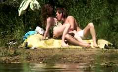 Couple Sex Spyied On River Beach Voyeur