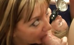 Two dirty women taking amateur facials and cum swallowing