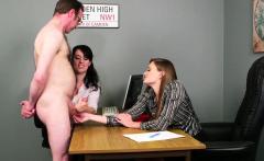 Horny office handjob babes jerk off dick