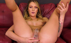 Sexy Hot Blonde Fucks Sybian After Toying Her Pussy in a