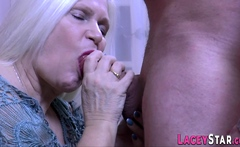 Chubby grandmother Lacey Star sucks dick