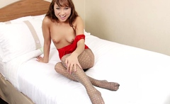 Asian teacher teases with her hot pantyhose