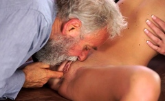 OLD4K. Angel-face sucks old dick and gets it in