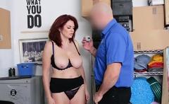 Redheaded MILF Andi got a sticky load on her big tits