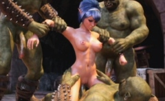 3D Elf Cutie All Holes Ruined by Orcs!