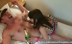 Amateur couple loves having horny sex