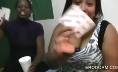 Ebony college cuties strip and drink at a party