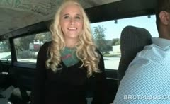 Blonde doll showing ass and rubbing twat in the bus
