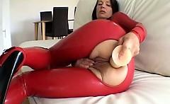 Dirty brunette slut goes crazy dildo